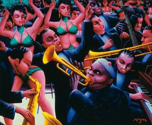 "Archibald J. Motley Jr., Hot Rhythm, 1961, oil on canvas, 40 x 48"" Collection of Mara Motley, MD, and Valerie Gerrard Browne. Image courtesy of the Chicago History Museum, Chicago, Illinois. © Valerie Gerrard Browne"