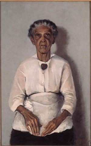 "Archibald J. Motley Jr., Portrait of My Grandmother, 1922, oil on canvas, 38 x 23.8"". Collection of Mara  Motley, MD, and Valerie Gerrard Browne. Image courtesy of the Chicago History Museum, Chicago, Illinois. © Valerie Gerrard Browne."