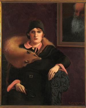 "Archibald J. Motley Jr.,  Portrait of Mrs. A.J. Motley, Jr., 1930, oil on canvas, 39.6 x 32""  Collection of Mara Motley , MD, and Valerie Gerrard Browne. Image courtesy of the Chicago History Museum, Chicago, Illinois. © Valerie Gerrard Browne."