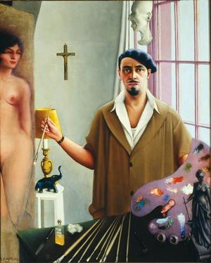 "Archibald J. Motley Jr, Self-Portrait (Myself at Work), 1933, oil on canvas, 57 x 5.25"" Collection of Mara Motley, MD, and Valerie Gerrard Browne. Image courtesy of the Chicago History Museum, Chicago, Illinois. © Valerie  Gerrard Browne."