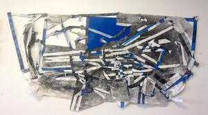 Blue 1, 2015, canvas, paper, charcoal powder, tape, 10ft x 5ft