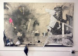 Space Notation 1, 2014, canvas, paper, charcoal dust, tape, wood, 7ft x 4.5ft