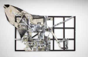 Space Notation #3, 2014, canvas, wood, acrylic paint, liquid graphite, plastic, gesso, charcoal dust, graphite dust, 9ft x 6ft