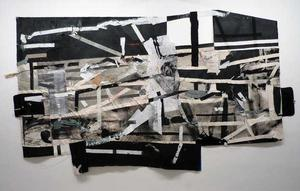 Untitled #5, 2013, canvas, paper, tape, found materials, 7ft x 12ft