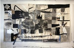 Untitled #1, 2012, canvas, paper, tape, found materials, 7ft x 12ft