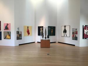 Center photo: installation view of African Divas at Ohr-O'Keefe Museum