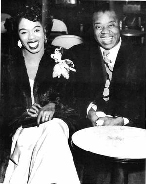 Sarah Vaughn and Louis Armstrong. One half of photo by Joe Schwartz. Collection of Samella Lewis