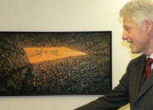 Clinton views TAFA painting, Game Overtime