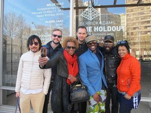 Artists and friends: Michael Chuapoco, John Dombroski, Renee Cox, Rahsaan Gandy, Derrick Adams and Nicole Awai after a day at THE HOLDOUT