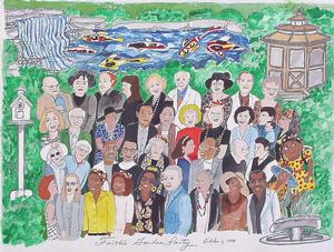 Faith Ringgold's drawing of her 1999 party