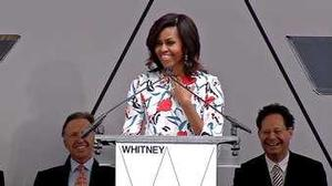 Michelle Obama speaking at Whitney Museum building dedication. Photo: Whitney Museum of American Art