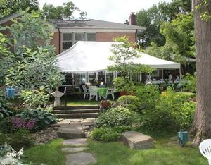 Garden party tent in Ringgold's back yard
