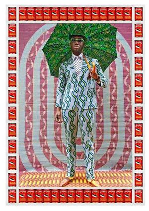 Hassan Hajjaj, (Morocco), Afrikan Boy, 2012/1434, metallic lambda on 3mm dibond Afrikan Boy is a Nigerian MC from London. Costumes and props by Hajjaj; umbrella by Samson Soboye