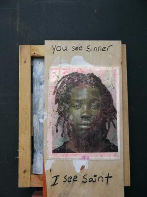 Derrick Maddox, You See Sinner, 2014, mixed media assemblage