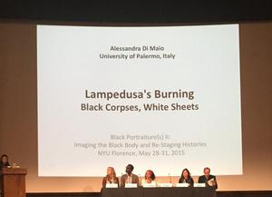 Talk on Lampedusa's photos. Photo: Michele Wallace