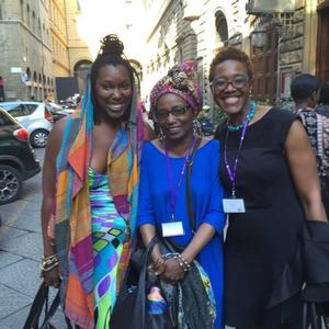 Michelle Wallace (c) with Imani Uzuri and an art historian from Wellesley