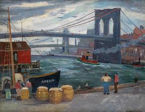 Palmer Hayden, Brooklyn Bridge and Dockworkers, oil on canvas, circa 1940-50. Courtesy of Swann Auction Galleries