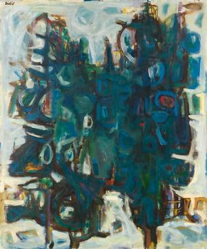 David C. Driskell, Two Pines (Two Trees), oil on canvas, 1961. Courtesy of Swann Auction Galleries