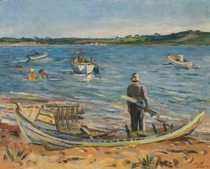Lois Mailou Jones, Lobsterville Beach, oil on canvas, 1945. Courtesy of Swann Auction Galleries