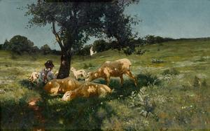 Henry Ossawa Tanner, Boy and Sheep Under a Tree, oil on canvas, 1881. Courtesy of Swann Auction Galleries.