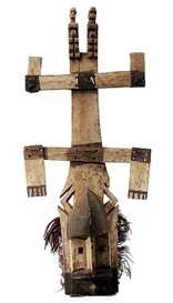Dogon Kanaga mask. The upper part of the cross symbolizes the supernatural world; the lower part symbolizes the terrestrial world. The line between the two parts is the union between the two worlds