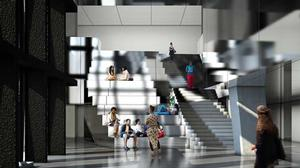 Rendering of grand seating staircase.  Courtesy of The Africa Center