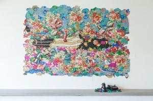 "In Rest - Dead Treez, mixed media on jacquard tapestry with handmade shoes and 150 crocheted leaves,  80 x 115."" Commissioned by Lux Art Institute"