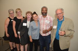 Bethany Collins (3rd from right) with Hudgens Prize jurors (l-r) Teresa Osborn, Angela Nichols, Shannon Fitzgerald, Hamza Walker and Buzz Spector Photo: Dylan York