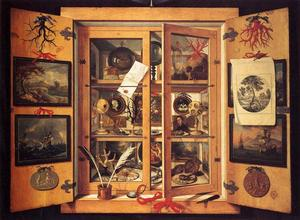 The cabinet of curiosities is an early form of craft-based installation art. Dominico Remps depicted one in this 1690s painting.