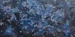 "Untitled (Cosmos), c. 1974, acrylic on canvas, 36 ¾ x 71 ½."" Collection of Charmaine Jefferson-Johnson and Garrett and Kelsey Johnson"