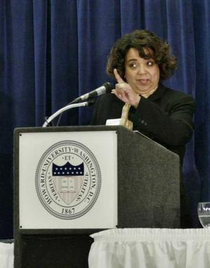 Teresia Bush at 2008 colloquium. She has been involved in the support and coordination of the colloquium for many years.