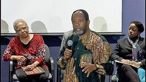 James Early with presenter Jennifer Jordan and panel moderator Michelle Wilkinson. Photo: Harold Burke