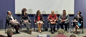 Presenters at 2015 Porter Colloquium: scholars (l-r), Earnestine Jenkins, Janelle Pryor-Blackmon, Melanee Harvey, Jennifer Jordan, S.K. Brooks and Michelle Joan Wilkerson.  Photo from video by Harold Burke
