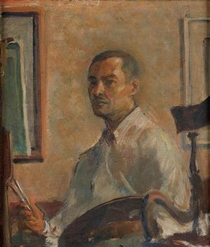 "James A. Porter, Self Portrait, oil on linen canvas, c. 1935, 14 x 12.""  Courtesy of Swann Auction Galleries"