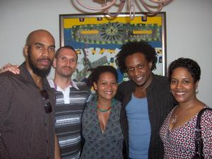 John Trevino (left), Cameron Van Patterson, Tosha Grantham, Hank Willis Thomas and Tuliza Fleming at party for 2008 colloquium participants at Bennie and Kera Johnson's house. Photo: Bennie Johnson