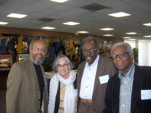 Floyd Coleman (left) with curator Ruth Fine and artists Sam Gilliam and Richard Hunt at 2008 colloquium. Photo: Sharon Farmer