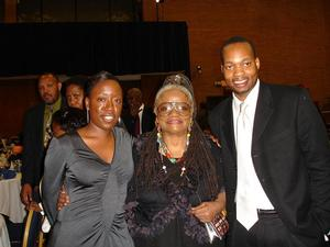 Art historian Jeffreen Hayes, artist Faith Ringgold and art patron Bennie Johnson at 2006 colloquium. Photo: Barbara Wallace