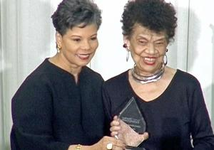 2015 award recipient, artist Lorraine O'Grady (right) with Maureen Bunyan, co-anchor, WJLA-DC. Photo: John Body