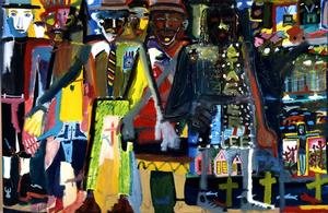"Figure 2. Stagger Lee, 1984, oil on linen, 90 x 140"". Collection of the Smithsonian American Art Museum"