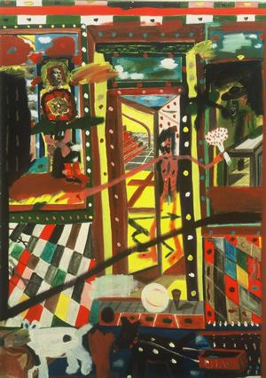 "Figure 6. Prince Street, 1977-96, mixed media on canvas, 84 x 60"". Collection of the Frederick J. Brown Trust"
