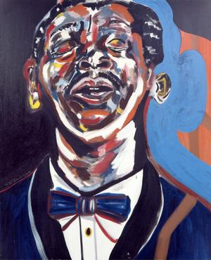 "Figure 9. B. B. King, 1989, oil on canvas or linen, 60 x 50"". Collection of Jerry Leiber & Mike Stoller"