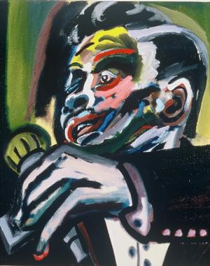 "Figure 11. Junior Wells, 1989, oil on linen, 36 x 30"". Collection of the Smithsonian American Art Museum"