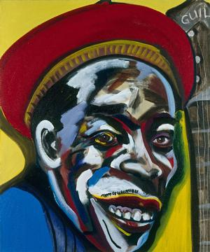 "Figure 12. Buddy Guy, 1989, oil on linen, 36 x 30"". Collection of Jerry Leiber & Mike Stoller"