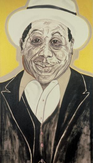 "Figure 13. Muddy Waters, 1989, oil on linen, 90 x 50"". Collection of Jerry Leiber & Mike Stoller"