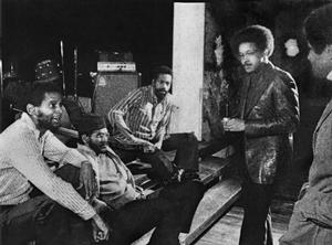 Figure 15. L-R: Leroy Jenkins, Jerome Cooper, Sirone (the Revolutionary Ensemble), Frederick J. Brown, poet Felipe Luciano at 120 Wooster Street in the mid-1970s. Photographer unknown