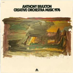 "Anthony Braxton's Creative Orchestra Music 1976 LP cover art featuring Untitled, 1975. Original painting oil on paper, 85 x 50"". Collection of the Frederick J. Brown Trust"