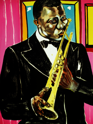 "Figure 19. Louis Armstrong, 1998, oil on linen, 84 x 60"". Private Collection."