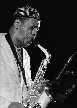 "Ornette Coleman, July 10, 1994.  Photo: Wiki Commons ""The trick is not to be afraid to go that far and that fast.…And like Ornette says, yeah, you get way out there, but artists only get paid when they come back!"" — Frederick J. Brown"