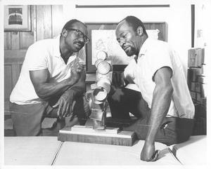 Noah Purifoy (left) and Judson Powell at Watts Towers Art Center, 1966. Photo from Noah Purifoy: Junk Dada. Courtesy LACMA