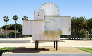 Noah Purifoy, Ode To Frank Gehry (1999), installed at Los Angeles County Museum of Art (LACMA) for the exhibition Noah Purifoy: Junk Dada, June 7, 2015-September 27, 2015, © Noah Purifoy Foundation, Photo © Museum Associates/LACMA.